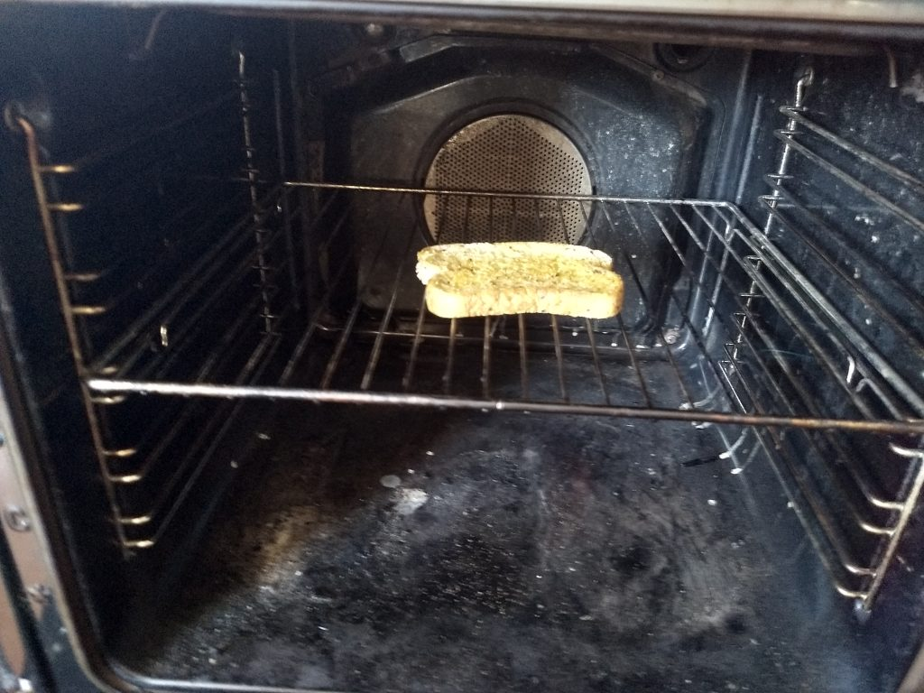 toast in an oven